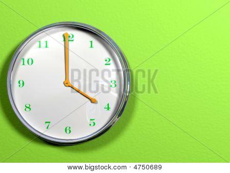 Clock With Green Hands & Orange Numbers