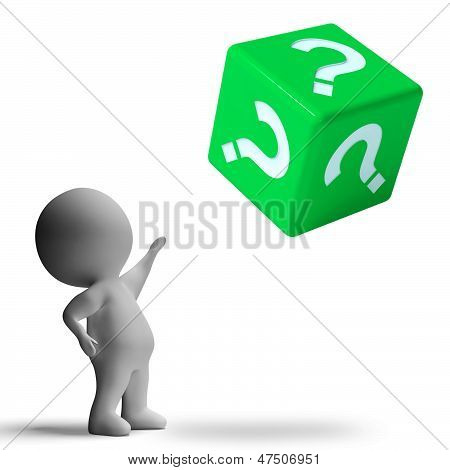 Question Mark On Dice Showing Confusion