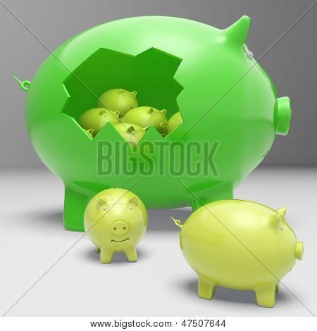 Piggybanks Inside Piggybank Shows Financial Break