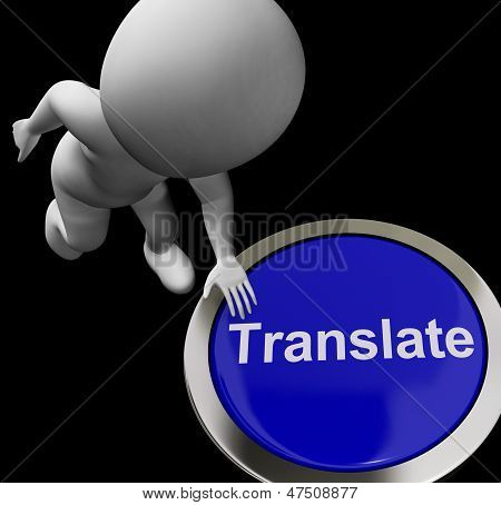 Translate Button Shows Online International Multilingual Translators