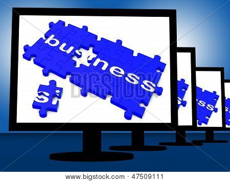Business On Monitors Shows Corporation Transactions