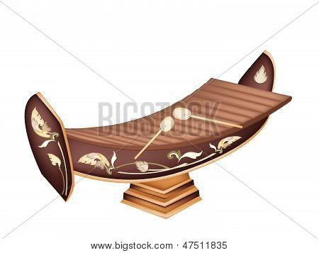 A Beautiful Thai Xylophone On Brown Background