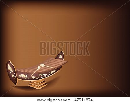 A Beautiful Thai Xylophone On Dark Brown Background