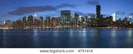 New York City Skyline Panoramic At Night