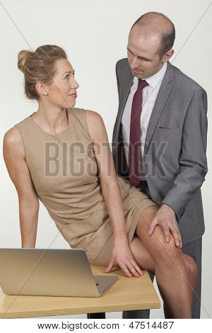 Businessman Groping His Secretary