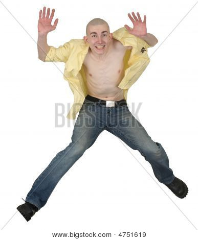 Jumping Guy On A White