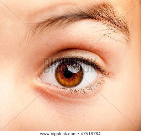 image of a little girl eye open