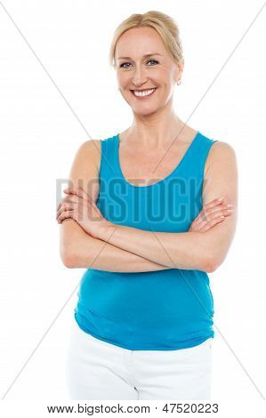 Beautiful Woman Standing With Arms Crossed