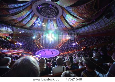 MOSCOW - DEC 31: Laser show in Arena of Great Moscow State Circus on Vernadsky prospekt on Dec 31, 2012 in Moscow, Russia. Capacity of auditorium seats 3310, height of the amphitheater - 36 meters.