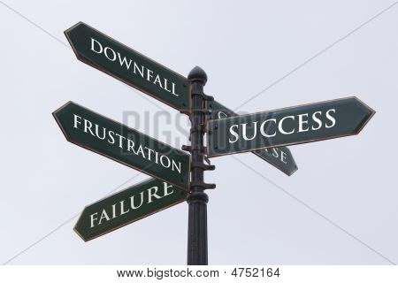 Directions Road Sign For Success Failure Frustration And Downfall
