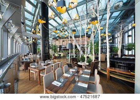 MOSCOW - JAN 2: The modern interior of restaurant Sixty on January 2,2012 in Moscow, Russia. Restaurant Sixty is highest restaurant in Europe.