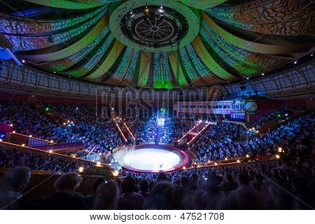 MOSCOW - DEC 31: Beautiful laser show in Arena of Great Moscow State Circus on Vernadsky prospect Dec 31, 2012 in Moscow, Russia. Capacity of auditorium seats 3310, height of amphitheater - 36 meters.