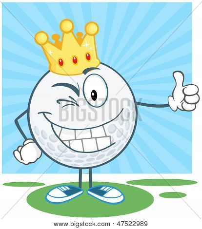 Winking Golf Ball With Gold Crown Holding A Thumb Up
