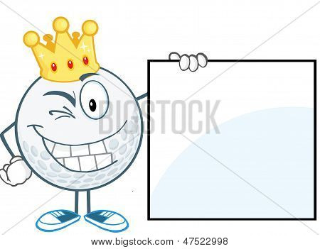 Winking Golf Ball With Gold Crown Showing A Sign