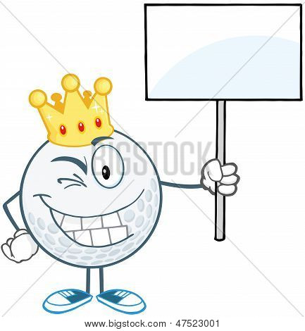 Winking Golf Ball With Gold Crown Holding A Blank Sign