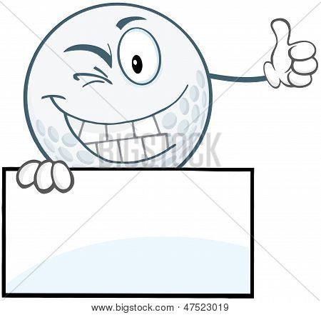 Winking Golf Ball Holding A Thumb Up Over Blank Sign