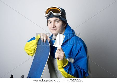 Snowboarder With Blank Lift Pass