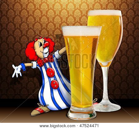 Clown And Beer