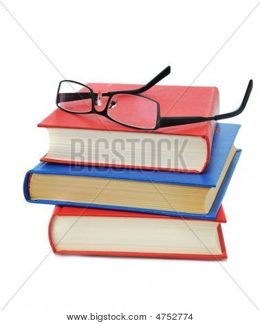 Three Book With Glasses