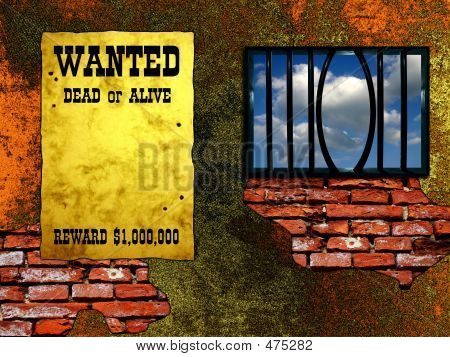 "Escape Conception - Twisted Grating. Vintage ""Wanted"" Poster On The Wall"
