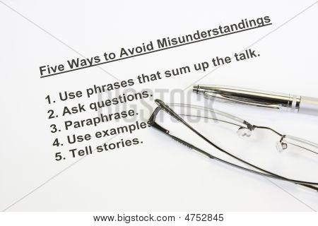 Five Ways To Avoid Misunderstanding