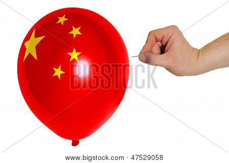Bursting Balloon Colored In  National Flag Of China