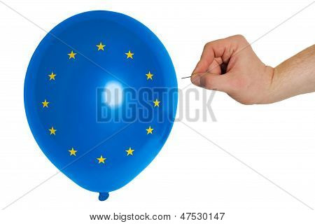 Bursting Balloon Colored In  National Flag Of Europe