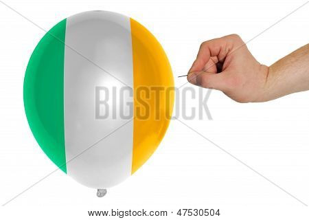 Bursting Balloon Colored In  National Flag Of Ireland