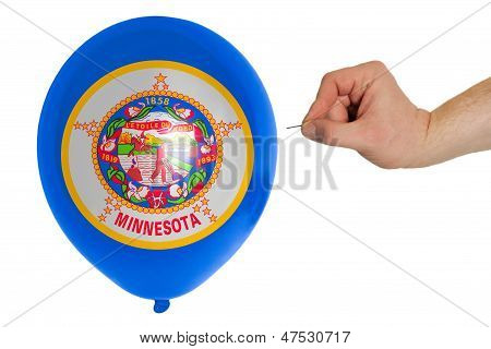 Bursting Balloon Colored In  Flag Of American State Of Minnesota