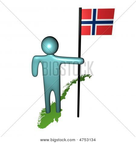 Man With Norwegian Flag On Map