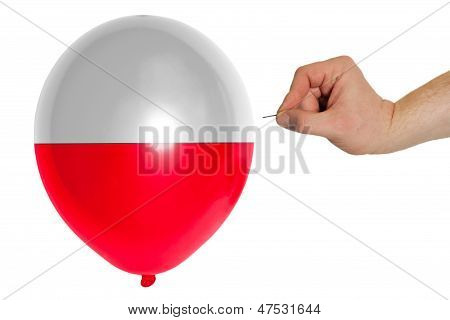 Bursting Balloon Colored In  National Flag Of Poland