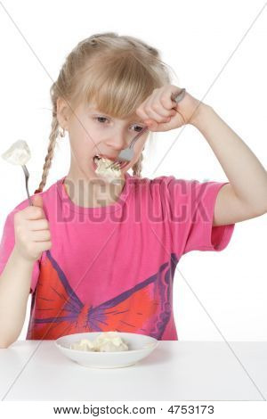 A Girl Eats Meat Dumplings