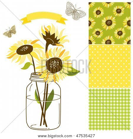 Glass Jar, sunflowers, ribbon, butterflies and cute rustic seamless backgrounds. Ideal for wedding invitations and Save the Date invitations