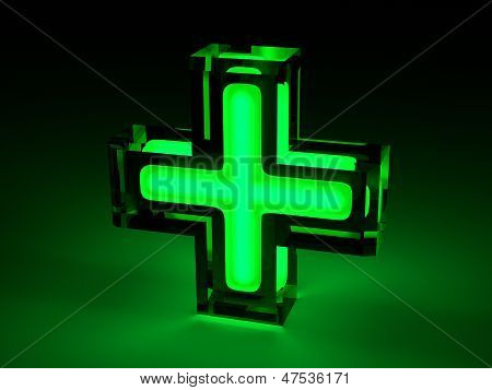 Green Medical Cross - Lighting