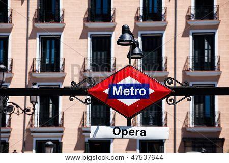 Metro Sign On Blurred City, Madrid
