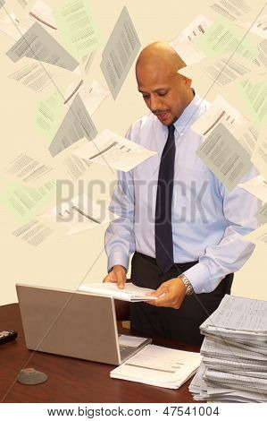Man In Business Meeting With Papers Flying