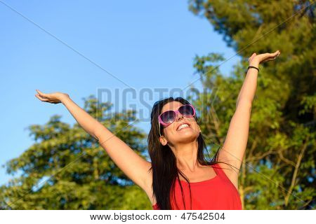 Woman Happiness In Nature Summer