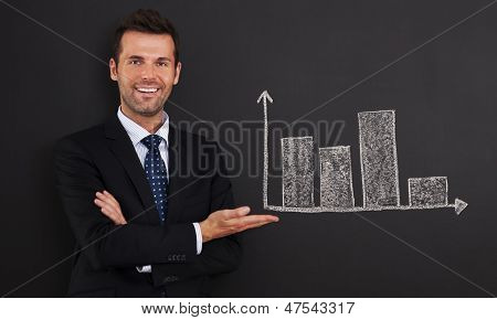 Smiling businessman presenting graph on blackboard