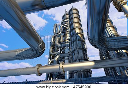 Metal pipe plant against the sky.