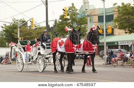 Aurora, Ontario, Canada- July 1: Canada Day Parade At Part Of Young Street In Aurora, Canada