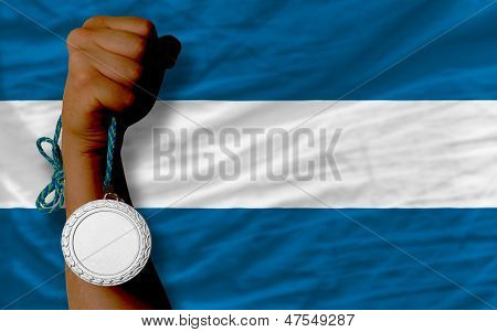 Silver Medal For Sport And  National Flag Of El Salvador
