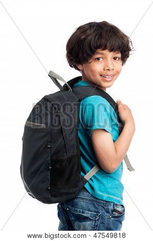 Cute Mixed Race Boy With Rucksack On Back.