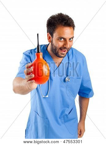 Male Nurse With Clyster