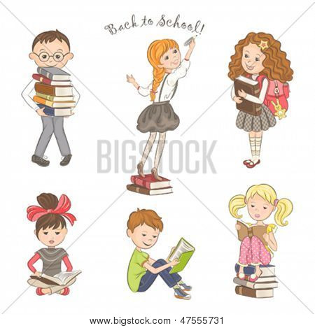 Collection of children with books