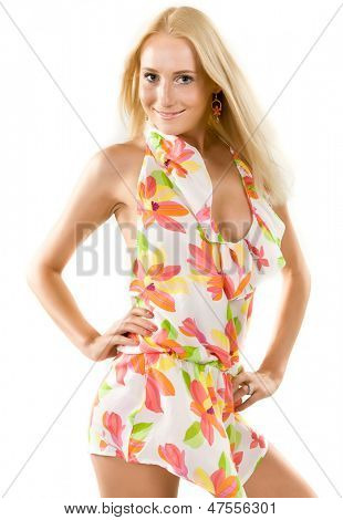 slender girl in a summer dress