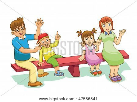 Family Sitting On A See Saw