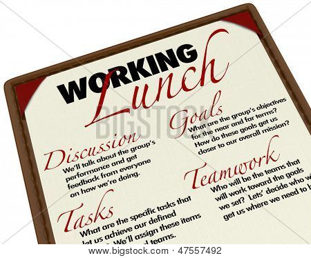 A Working Lunch agenda menu for setting goals, discussing tasks and brainstorming ideas for a company, business or organization