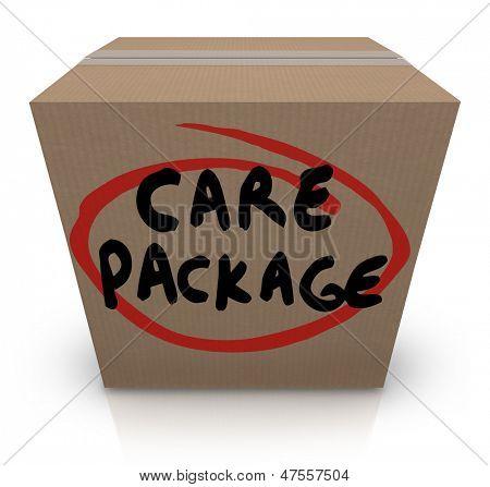 Las palabras importa el paquete en una caja de cartón para ilustrar el apoyo, ayuda, asistencia y emergencia suppl