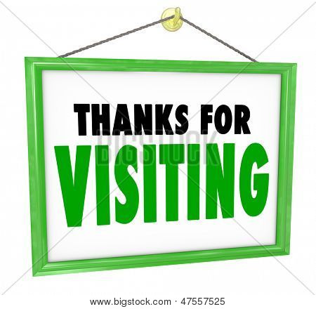 Gracias por visitar colgante signo para una tienda para agradecer, apreciar y expresar un mensaje de gratitud