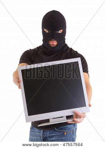 Criminal With Balaclava And Monitor
